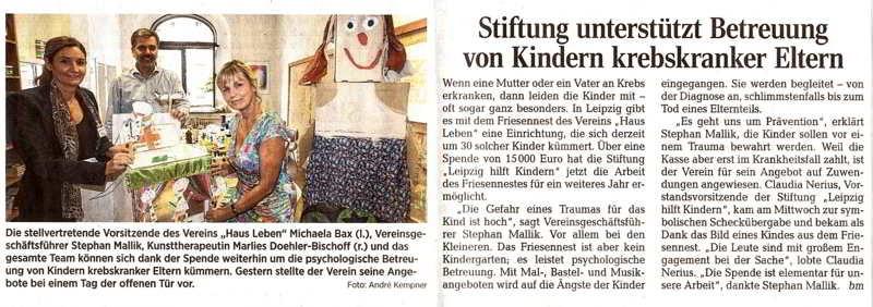 """Bericht in der LVZ vom 4.9.2015 über das Friesennest und eine Spende der Stiftung """"Leipzig hilft Kindern"""""""