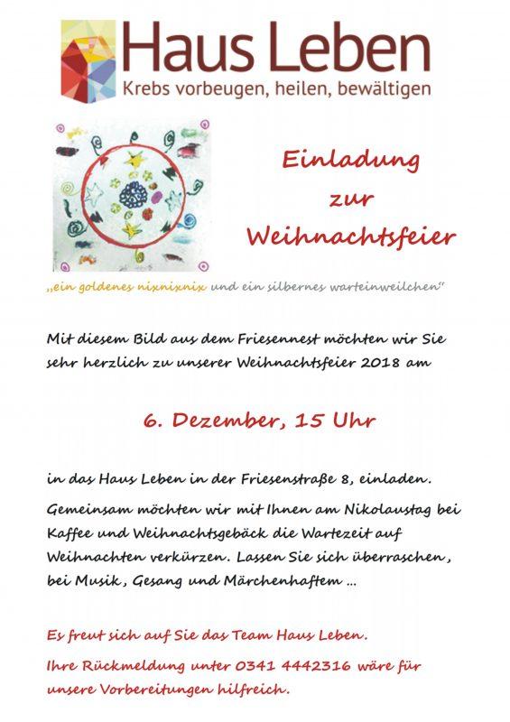 Einladung Zur Weihnachtsfeier.Einladung Zur Weihnachtsfeier Haus Leben E V Haus Leben E V