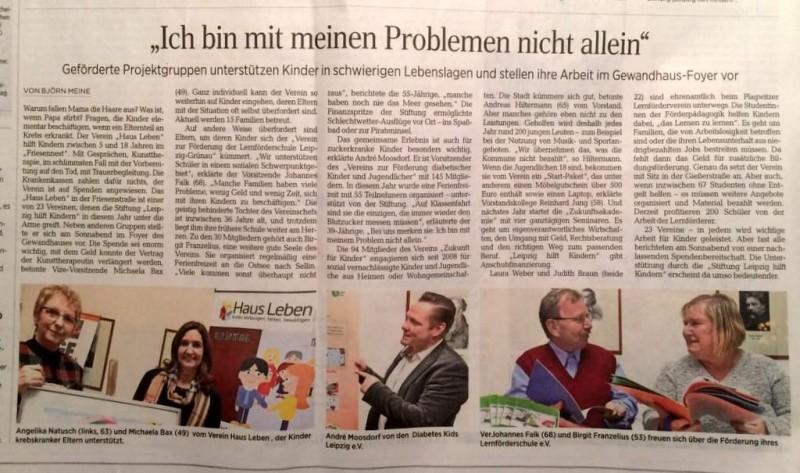 Bericht in der LVZ über das Friesennest im Haus Leben Leipzig anlässlich des Benefiz-Konzerts zugunsten der Stiftung Leipzig hilft Kindern am 28.11.2015